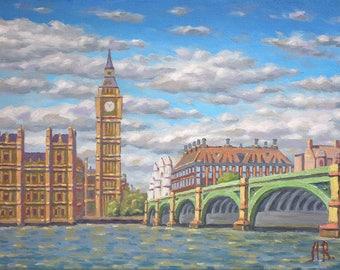 London, London Instant Download, Oil Painting Print, London Print