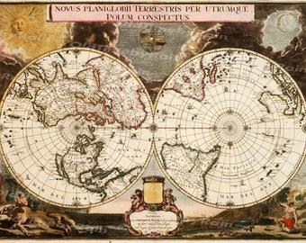 Vintage Old World Map/Image Download Retro Style Design/Resource Old Map Digital Prints/1672 Novus Planigobii/Gerardium Valck/