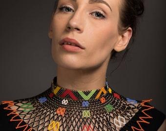 Bib collar web necklace (Multicoloured and Monochrome)