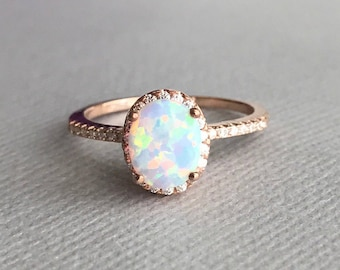 Oval White Fire opal rose gold sterling silver ring