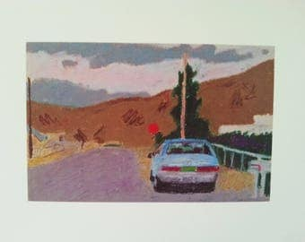 """Blue Car with Mountains 8.5""""x11"""""""