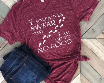 I Solemnly Swear That I Am Up To No good Shirt. V Neck T Shirt. Gift.
