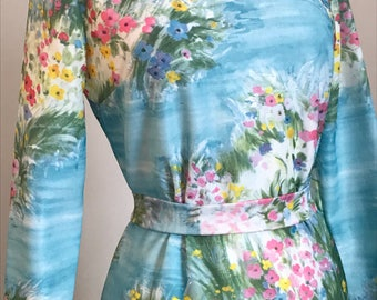 Vintage Multicolored Floral Dress with Removable Belt