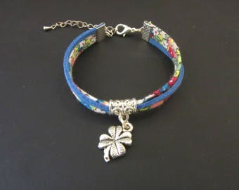 Liberty bracelet and charm 4 clover leaves