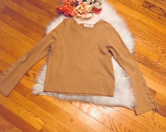 VINTAGE Fiorlini bell sleeve 1990s lace-up top / hipster top