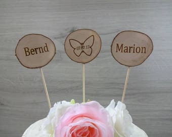 Cake topper names / natural wood / wdding / butterfly