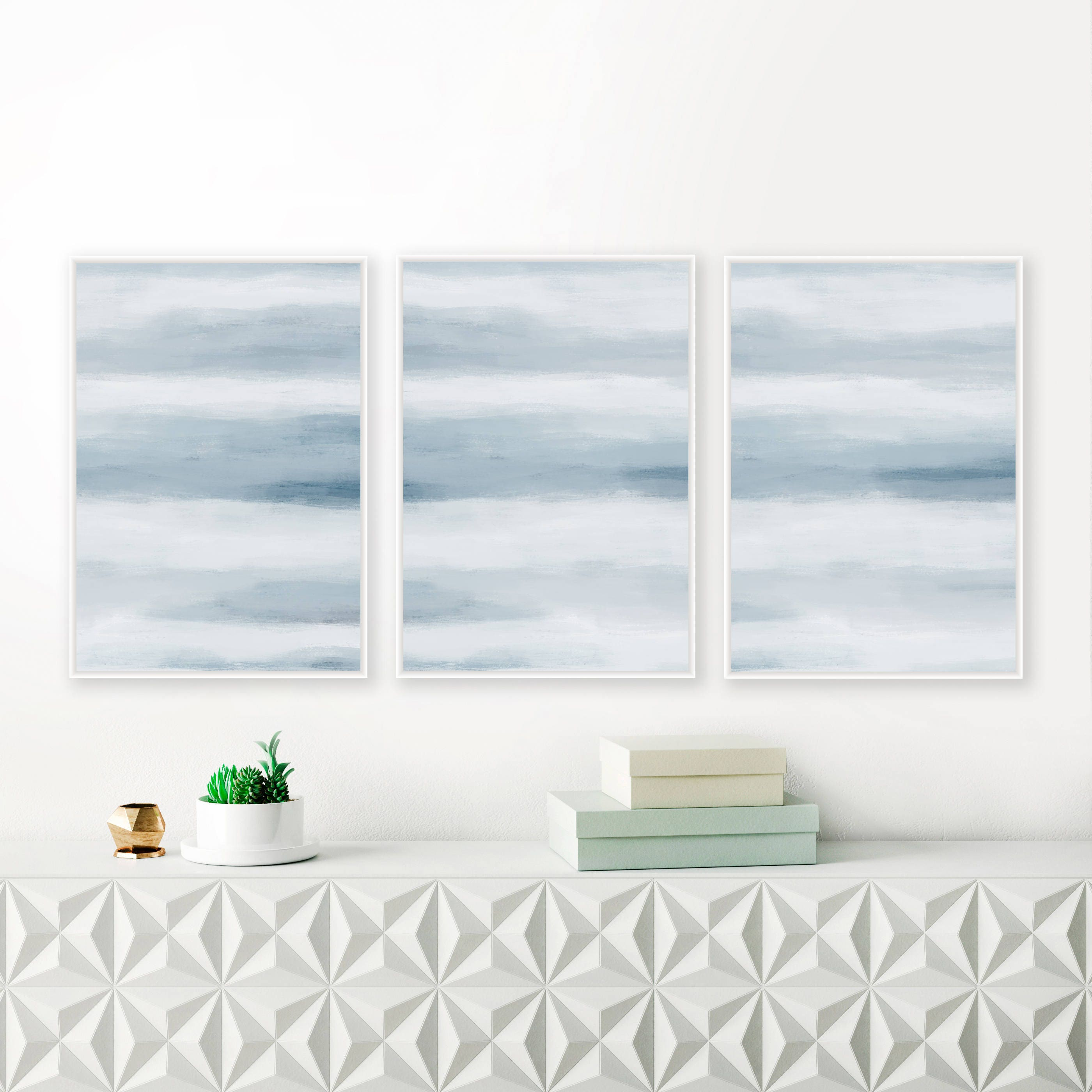 Wall decals choose an option 8x12 in 16x24 in 24x36 in - A Set Of 3 Blue Abstract Prints 24x36 Art Prints Blue Nursery Paintings Printable Living Room Art Extra Large Wall Art