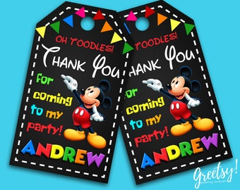 Mickey Mouse Thank You Tags, Mickey Mouse Birthday Favor Tags, Mickey Mouse Party Tags, Mickey Mouse, Mickey Mouse Print Supplies, Mickey