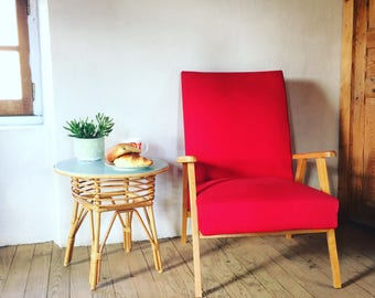 Vintage Red Chair. french vintage arm chair. 1950's.