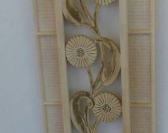 Syroco Flowered with Gold Accent Wall Plaque  Vintage 1960s