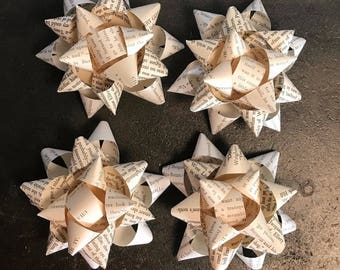 Book Page Gift Bows 4 Pack