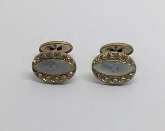 Victorian 14k gf carved mother pearl cufflinks set