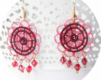 Earrings Fuchsia and plum lace and Crystal, lace earrings