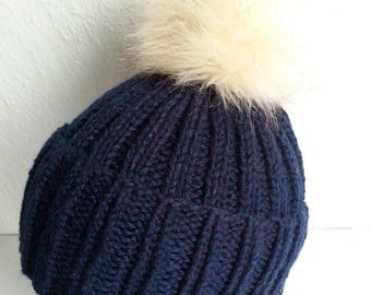 Navy blue hat very warm and soft
