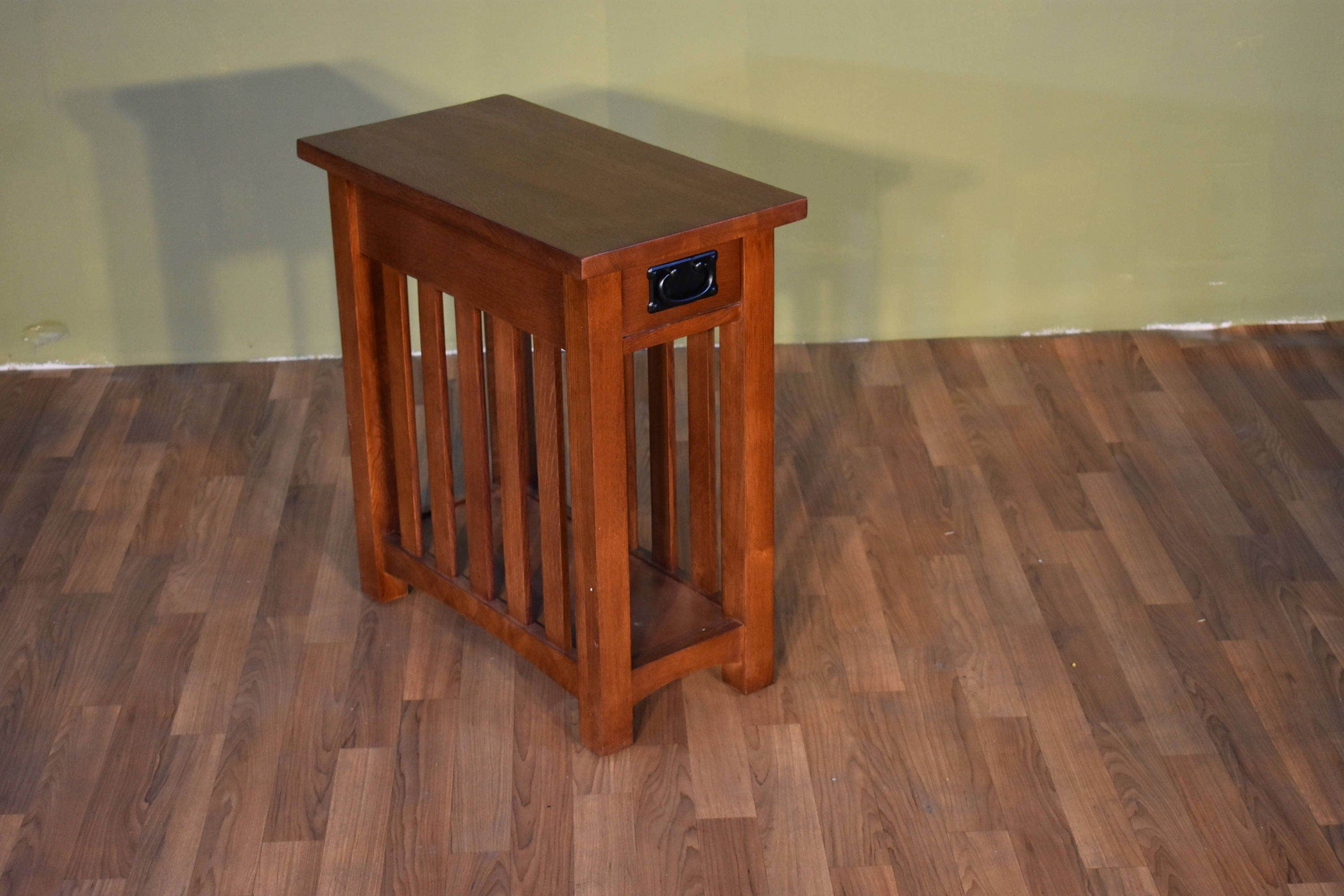 Mission Style Solid Oak Narrow Side Table With Slats