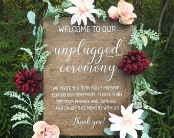 Unplugged Wedding Sign | Rustic Wood Wedding | Unplugged Ceremony