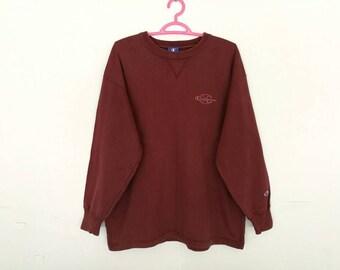 Rare!! Champion Big Logo Spellout Embroidery Sweatshirt