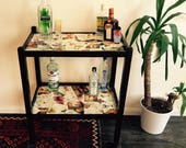 Upcycled Decoupage Drinks Trolley Hostess Trolley (70s cocktail recipe books)