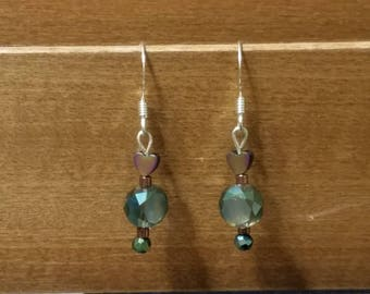 Hearts and Blue bead earrings
