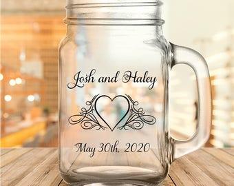 Custom Flourished Heart Wedding Favor Mason Jars