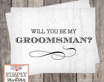 Will You Be My Groomsman, Printed Note Card, Bridal Party Ask Card, Wedding Party Card, Bridal Proposal Card, Rustic Wood, Groomsmen Card
