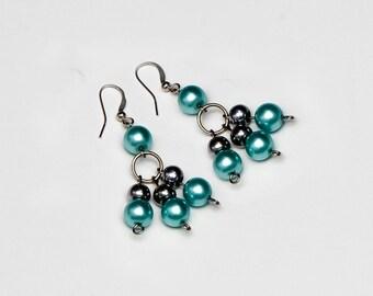 Shiny Blue Beaded Dangle Earrings.