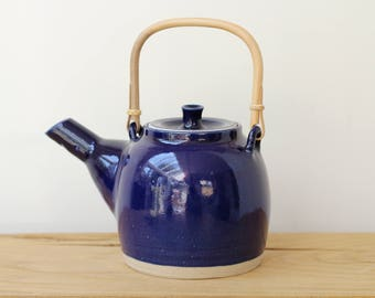 Deep blue Teapot with bamboo handle. Handmade, pottery, ceramics, tableware, wedding gift, made for order, tableware.