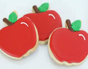 1 Doz Back to School / Teacher Decorated Sugar Cookies (Apples, Chalkboard, Pencils, Rulers)