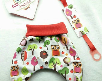 Baby 3 set pieces: pants. bandabavouille; Pacifier clip