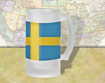 Sweden Flag Beer Mug, Beer Stein, Country Flag, Country Pride, Beer Glass, 16 oz., Frosted Mug, Beer Thinkers, Beer Lovers, Cold Beer