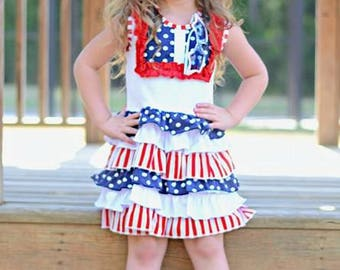 SALE -Baby, Toddler, Kids, Girls Fourth Of July Dress, Patriotic Dress, 4th of July Dress, Independance Day Dress, Red, White and Blue
