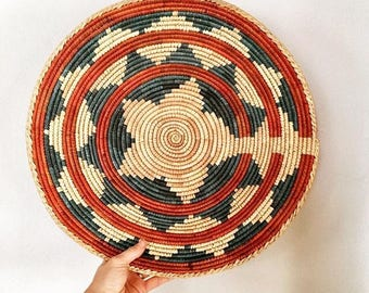 Vintage - Woven Coiled Wicker - African - Basket