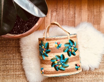 Vintage - Woven Straw - Tote Bag - Beach Bag - Lined