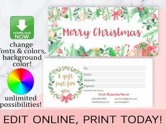 LipSense Christmas Gift Cards,Christmas Gift Certificates,Gift Card Template,Editable,Printable,Distributor,Photographer,INSTANT DOWNLOAD