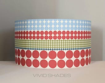 Geometric Scandinavian fabric 40cm, 45cm or 50cm lampshade by vivid shades, modern retro stylish funky scandi pattern custom made drum shade