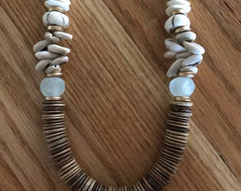 Wood bead and cowrie shell necklace