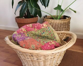 Vintage Woven Wicker Large laundry Basket