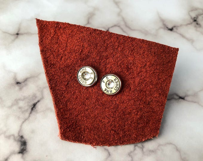 Featured listing image: Diamond and Silver Swarovski Bullet Stud Earrings