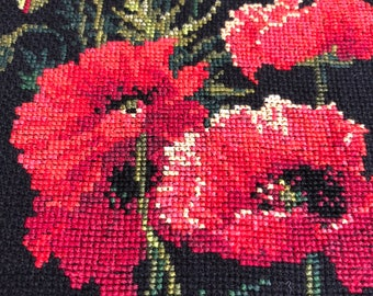Finished, Handmade, Unframed Cross Stitch Picture – Red Poppies on Black fabric
