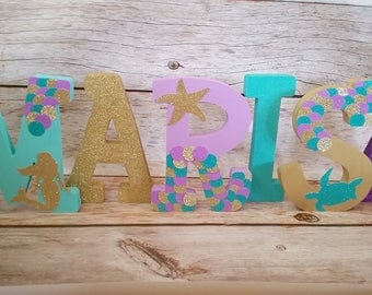 Mermaid, Under the Sea Birthday, 9 inch Free Standing Letters//Free Standing Nursery Initials//Purple, Teal, and Gold Birthday//Photo Prop//