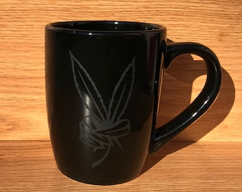 Etched, peace sign, marijuana leaf, Black coffee cup, cannabis, weed, accessories, novelty, party favor, coffee, mug, gifts.