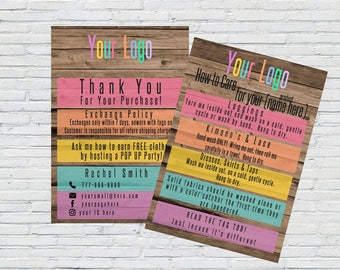 Lula Thank You for Purchase and How to Care Printable | Lula Printable | Rustic | Home Office Approved | Fashion Consultant | LLR Printable