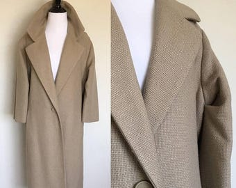 ON SALE Dior Cocoon Coat | 1950s Authentic Vintage Christian Dior New Look Oversized Coat | Taupe Tweed