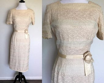 ON SALE Goin' to the Chapel Dress | 1960s Vintage Cream Lace Belted Rockabilly Wiggle Dress | Size M