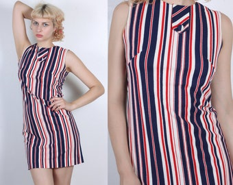 70s Terrycloth Mini Dress // Vintage Striped 4th July Shift Dress Sleeveless Red White Blue - Medium