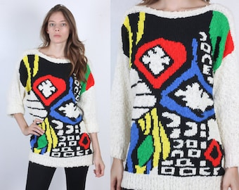 90s Slouchy Sweater // Vintage Bright Geometric Knit Pullover Jumper 3/4 Sleeve Womens - Large