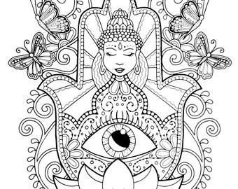 Hamsa hand coloring page for adults, Hand of Fatima adult coloring, Spiritual adult coloring book, Hamsa printable, Coloring sheet