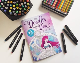 Adult coloring book, Christmas gift, Doodles from The Den, Mindfulness colouring Book, Coloring Pages, Coloring Books for Adults