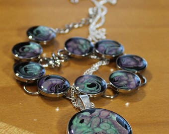 Hand-painted Purple and Green Resin Pendant and Bracelet Set
