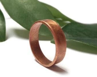 Rustic copper wedding band, Dark copper ring, Copper Anniversary gift, Minimalist Wedding Band Ring, matte copper ring, men's copper ring